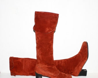 CHRISTIAN DIOR Vintage Suede Go Go Boots Red Over Knee Foldover 9  - AUTHENTIC -