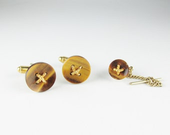 Vintage Dante Cuff Links and Tie Tack Set: Tiger's Eye Buttons