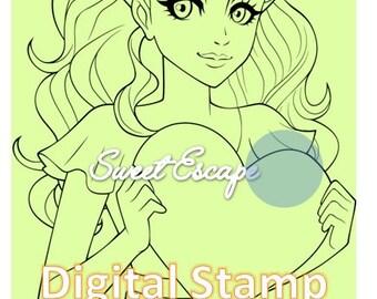 Lovely Girl Digital Stamp