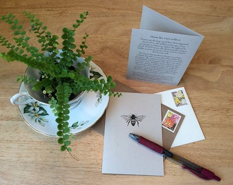 Honeybee note card. Save the bees! Bee note card with honey bee facts. Correspondence card for bee keeper or gardener.