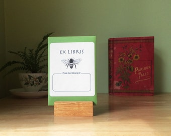 Honey bee book plates. Ex Libris honeybee bookplate stickers, set of 17 plus envelope. Custom printing option. Gift for book lovers.