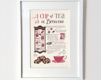 A Cup of Tea and a Brownie A3 Print