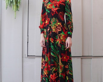 Vintage Psychedelic Abstract 1960's Vivid Floral Empire Waist Mod Long Maxi Dress S