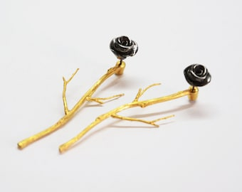 Sterling silver ear jackets, sterling silver rhodium plated rose earrings, gold branches earrings,silver rose ear studs