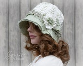 Linen Cloche Hat / Fairy Fern Hat / Pastil Mint Green and White