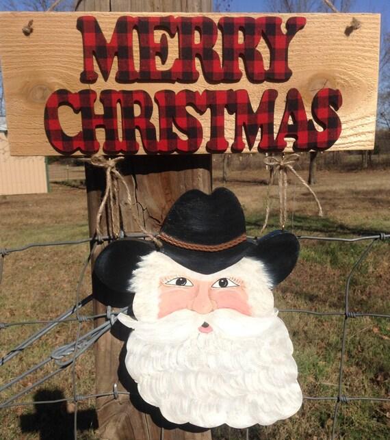 Cowboy Christmas Decor: Handpainted Cowboy Santa Christmas Door Or Wall Hanger Decor