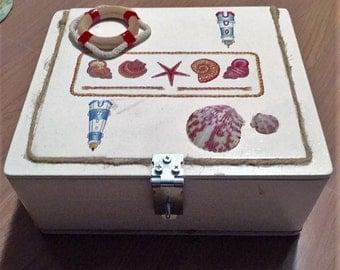 Large White Nautical Themed Seashell Keepsake Cigar Box Storage with Small Padlock