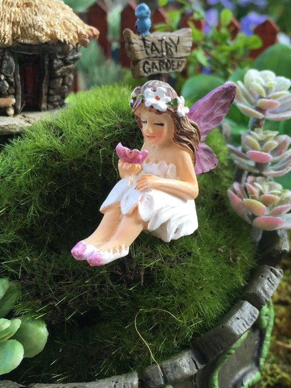 "Tiny Mini Fairy ""Mari"" Figurine, Fairy Garden Accessory, Garden Decor, Topper, Terrarium Accessory"