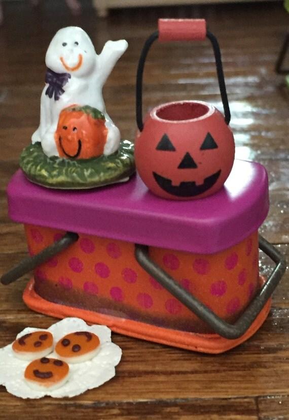 Miniature Pumpkin Basket Wood and Metal Painted Jack O Lantern Trick or Treat Bucket