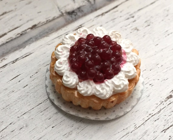 Miniature Cherry and Whip Cream Cake, Dollhouse Miniature, 1:12 Scale. Dollhouse Food, Miniature Food, Dessert, Whip Cream Cake