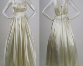 Vintage 1940s Wedding Dress, Cream Candlelight Satin Bridal Gown, Full Skirt, Fitted Waist, Gathered Sleeveless Bodice w/ Braided Straps, S