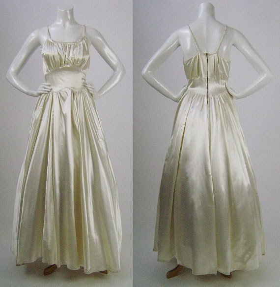 """Vintage 40s Wedding Dress, Cream Candlelight Satin Bridal Gown, Full Skirt, Fitted Waist, Gathered Sleeveless Bodice, Braided Straps, W 26"""""""