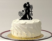 Wedding Cake Topper Silhouette, Personalized Wedding Cake Topper, Bride and Groom Silhouette Cake Topper