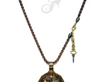 Steampunk Metalwork Antique Pocket Watch Pendant Necklace with Winding Key on Heavy Vintage Brass Rope Chain ~ #N0570 Fantasticality by RTD