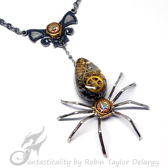 Victorian Steampunk Spider Necklace ~ Mixed Metals ~ Resin Cabochon w/ Watch Gears, AB Rhinestones, Brass & Stainless Steel Chain #N0671