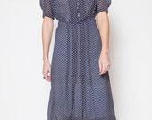 Blue 1940s Polka Dot Dress