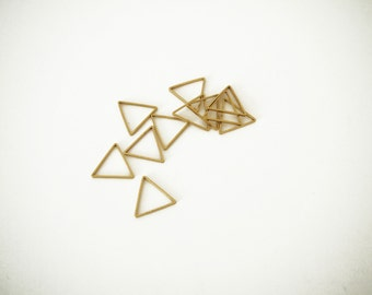 10 Raw Brass Triangle rings 15 mm empty triangle