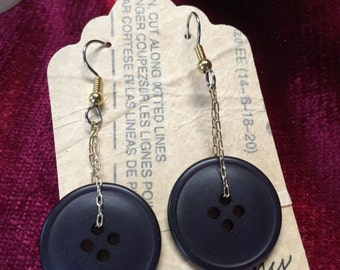 Black Button Earrings One of A Kind