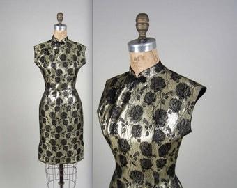 1960s rose print cheongsam dress • vintage 60s dress • silk brocade dress