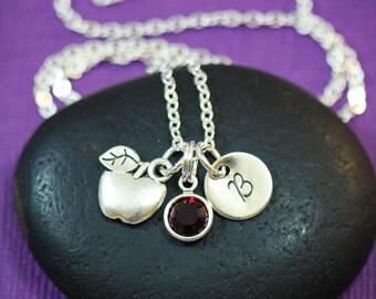 Teacher Necklace • Dainty Apple Necklace • Teacher Appreciation • Personalized Teachers Gift • Handstamped • School Gift