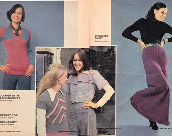 Vintage 1970s Knitting Crochet pattern Booklet Tank Tops Boho Jacket Maxi Skirt Singlets ORIGINALS NOT PDF