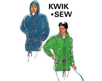90s Womens Raglan Sleeve Jacket Kwik Sew 2197 Zip Front Hoodie Parka Coat Sewing Pattern Sizes XS - XL UNCUT Factory Folded