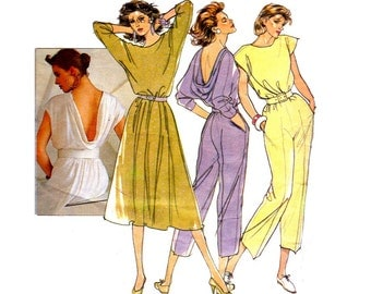 80s Jumpsuit & Dress Pattern Style 4407 Vintage Sewing Pattern Cowl Back Cap Sleeves Size 10 12 14 Bust 31 1/2 - 36 inches