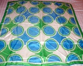 Vtg VERA Scarf with Blue and Green Circles - Square