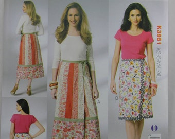 Kwik Sew K3915, Misses' Wrap Skirts, Sewing Pattern, Misses' Sizes XS, S, M, L, Xl, Uncut