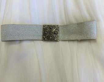50s Silver Stretch Belt Cinch Lurex Vintage 24 26 28 Waist XS S
