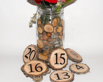 Wedding table numbers ~ Wood Table Numbers ~ 30 Table Numbers ~ Tree Slice Table Numbers ~ Rustic Wood Table number ~ Wedding Decoration