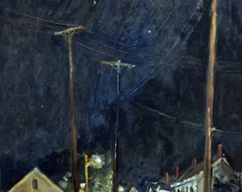 Mill Houses and Poles, Autumn Nocturne. Realist Oil Painting on Panel, 10x20 Plein Air Fall Landscape Night Scene, Signed Original Fine Art
