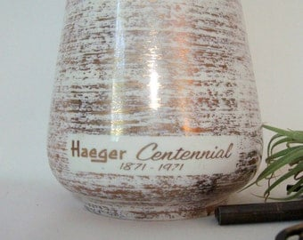 Haeger Potteries Centennial Vase Gold Tweed 1971 Limited Edition Vintage