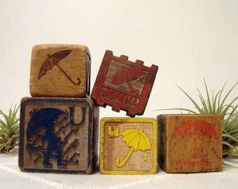 Umbrella Alphabet Blocks 5 Vintage Wood Blocks Letter U for Umbrella Collector
