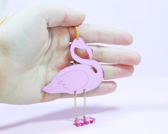 flamingo necklace. gift for her. pink flamingo. pink jewelry. statement jewelry. handmade necklace. necklaces for women. statement necklace