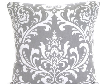 Gray Damask Pillow Cover, Decorative Throw Pillows, Cushion Cover, Storm Grey White Damask Shabby Chic, Sofa Bed Pillows, One ALL SIZES