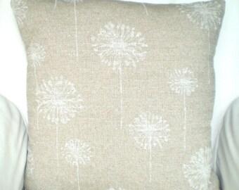 Tan White Dandelion Pillow Cover, Decorative Throw Pillows, Cushions Natural Cloud Denton Burlap-LIKE  Euro Sham, One or More ALL SIZES