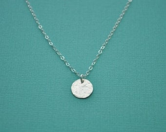 Silver Disc Necklace - small hammered sterling silver round charm 9.5 mm dot pendant classic - simple & sweet gift everyday jewelry handmade