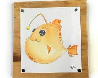 Angler Fish 'Tiny Monster' Original Watercolor