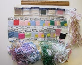pure SILK ribbon - 30+ cards for ribbon embroidery - large assortment - 4mm and 7mm - solid and variegated