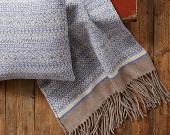 Scandi Blanket, chunky knit blanket, wool blanket, sofa, Fair Isle Knitted Blanket Wrap, 100% Lambswool, soft blue, mushroom, luxury, shawl