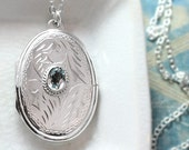 Blue Topaz Sterling Silver Locket Necklace, Large Oval Double Sided Picture Locket - Blue Skies