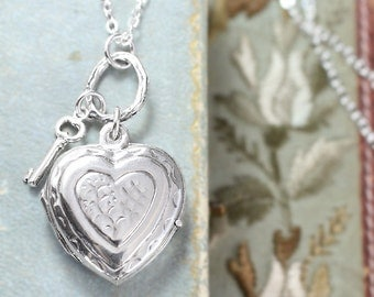Sterling Silver Heart Locket Necklace, Heart Shaped Photo Pendant with Tiny Key Charm on Artisan Ring - Heart of Hearts