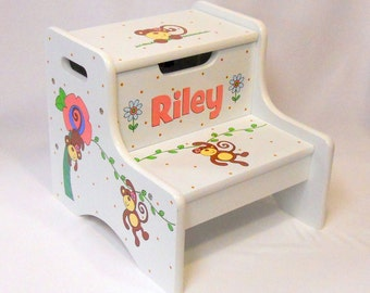 Large Personalized Two Step Stool with Monkeys