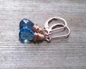 Rose Gold London Blue Topaz Earrings, December Birthstone, Blue Topaz Jewelry, Minimalist Earrings, Pink Gold Earrings