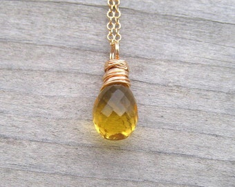 AAA Citrine Necklace,  14K Gold Filled,  Hand Wire Wrapped,  Golden Citrine Pendant,  November Birthstone Jewelry
