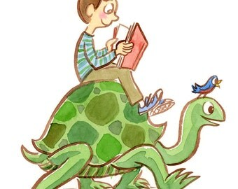 The Tortoise-Riding Reader - original watercolor illustration