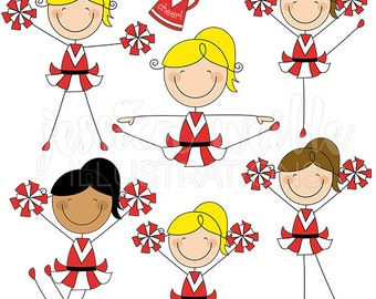 RED Cheerleader Stick Figures Cute Digital Clipart for Commercial or Personal Use, Cheerleader Graphics, Cheerleader Stick Figures
