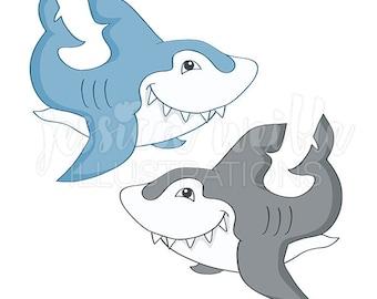 Great White Shark Cute Digital Clipart, Shark Clip art, Shark Graphics, Toothy Shark Illustration, #422