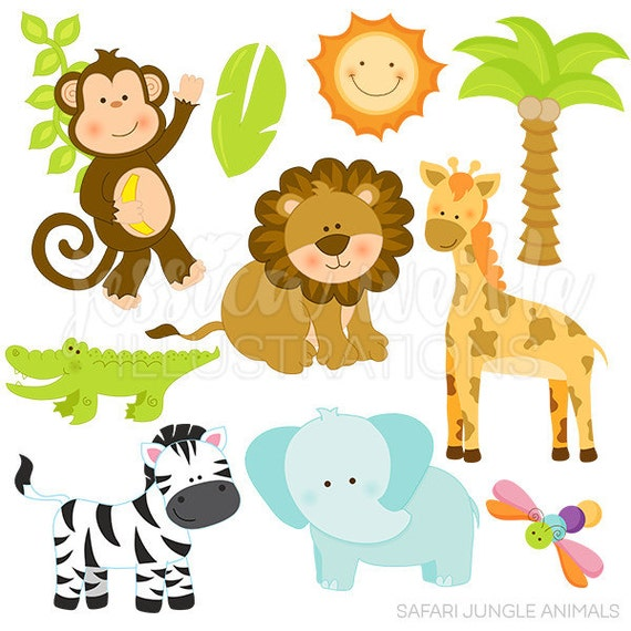 Cute Digital Clipart - Commercial Use OK - Safari Animal Clipart ...